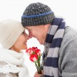 Happy mature couple in winter clothes with roses — Stock Photo #50064413