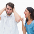 Angry brunette shouting at boyfriend — Stock Photo #50065115