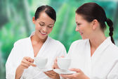 Beautiful friends in bathrobes drinking herbal tea — Stock Photo