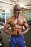 Muscular man shouting while flexing muscles in gym — Stok fotoğraf