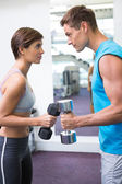 Fit couple lifting dumbbells together facing off — Stock Photo