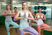 Smiling yoga class in tree pose in fitness studio — Foto de Stock