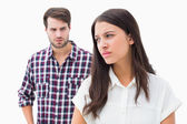 Angry brunette not listening to her boyfriend — Stock Photo