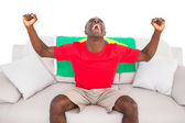 Ecstatic brazilian football fan sitting on couch cheering — Stok fotoğraf