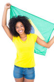 Pretty girl in yellow tshirt holding brazilian flag — Stock Photo