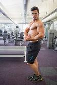 Shirtless muscular man posing in gym — Photo