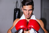 Close-up of a serious young male boxer — Stock Photo