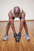 Muscular man exercising with dumbbell in gym — Stock Photo