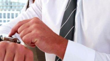 Businessman using his smart watch — Stock Video
