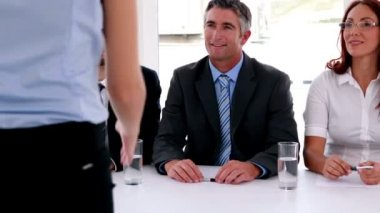 Interview panel shaking hands with applicant — Stock Video