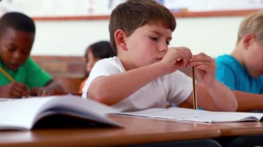 Little boy writing during class — Vídeo de Stock