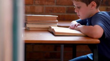 Boy reading book in classroom — Stock Video