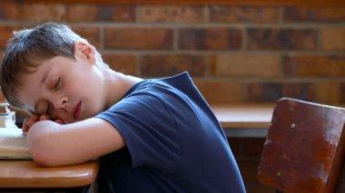 Boy sleeping on a book in classroom — Stock Video