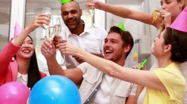 Business team celebrating with champagne — Stock Video