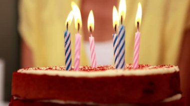Six candles on a birthday cake — Stock Video