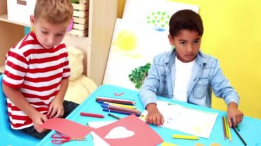 Boys having art time in the classroom — Vidéo
