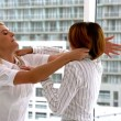 Businesswomen getting physical in a fight — Stock Video #50516471