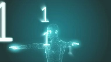 Vitruvian man graphic with binary code — Video Stock