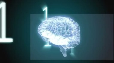 Revolving brain graphic with binary code — Video Stock