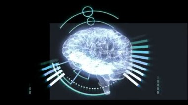 Revolving brain graphic with interface — Stockvideo