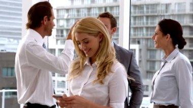 Businesswoman sending a text message — Stock Video