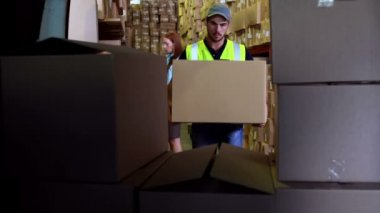 Delivery driver loading his van with boxes — Stock Video