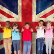 Elementary pupils against union jack flag — Stock Photo #51559243