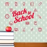 imagen compuesta de espalda al mensaje de la escuela con los iconos — Foto de Stock   #51559277