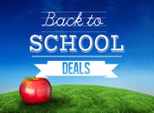 Composite image of red apple with back to school message — Stock Photo