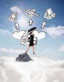 Businesswoman holding umbrella — Stock Photo