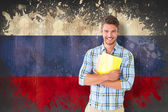Student smiling  against russia flag — Stock Photo