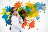 Cute pupil dressed up as scientist — Stock Photo