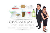 Business people against restaurant advertisement — Stock Photo