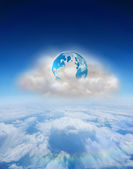 Earth on floating cloud — Stock Photo