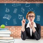 Thinking redhead teacher — Stock Photo