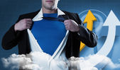 Businessman opening his shirt superhero — Stock Photo