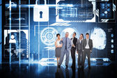 Business people against hologram interface — Stock Photo