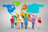 Elementary pupils holding balloons — Stock Photo