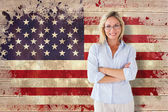 Mature student against usa flag — Stock Photo