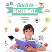 Composite image of back to school message with icons — Stock Photo