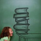 Composite image of stack of books doodle — Foto de Stock
