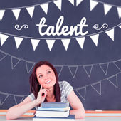 Talent against student thinking in classroom — Stockfoto