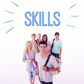 Word skills against smiling students — Stock Photo