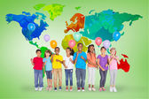 Elementary pupils holding balloons — Stock Photo