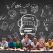 Pupils with teacher with school doodles — Stock Photo #51560845