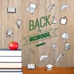 imagen compuesta de espalda al mensaje de la escuela con los iconos — Foto de Stock   #51561025