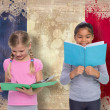 Постер, плакат: Pupils reading against france flag