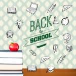 imagen compuesta de espalda al mensaje de la escuela con los iconos — Foto de Stock   #51562059