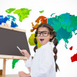 Pupil with chalkboard with world map — Stock Photo #51562133