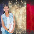 Student holding notepads against france flag — Stock Photo #51562449